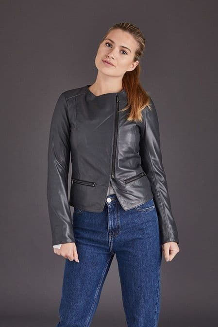 Grey Leather Jacket Womens:Chenel